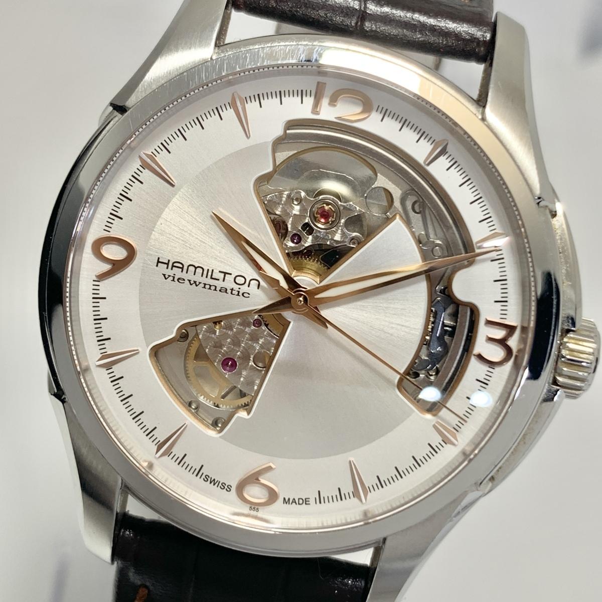 ☆1円~ ハミルトン Hamilton ジャズマスター オープンハート シルバー文字盤 H325651 メンズ 自動巻き 保証書 腕時計 CD1792938
