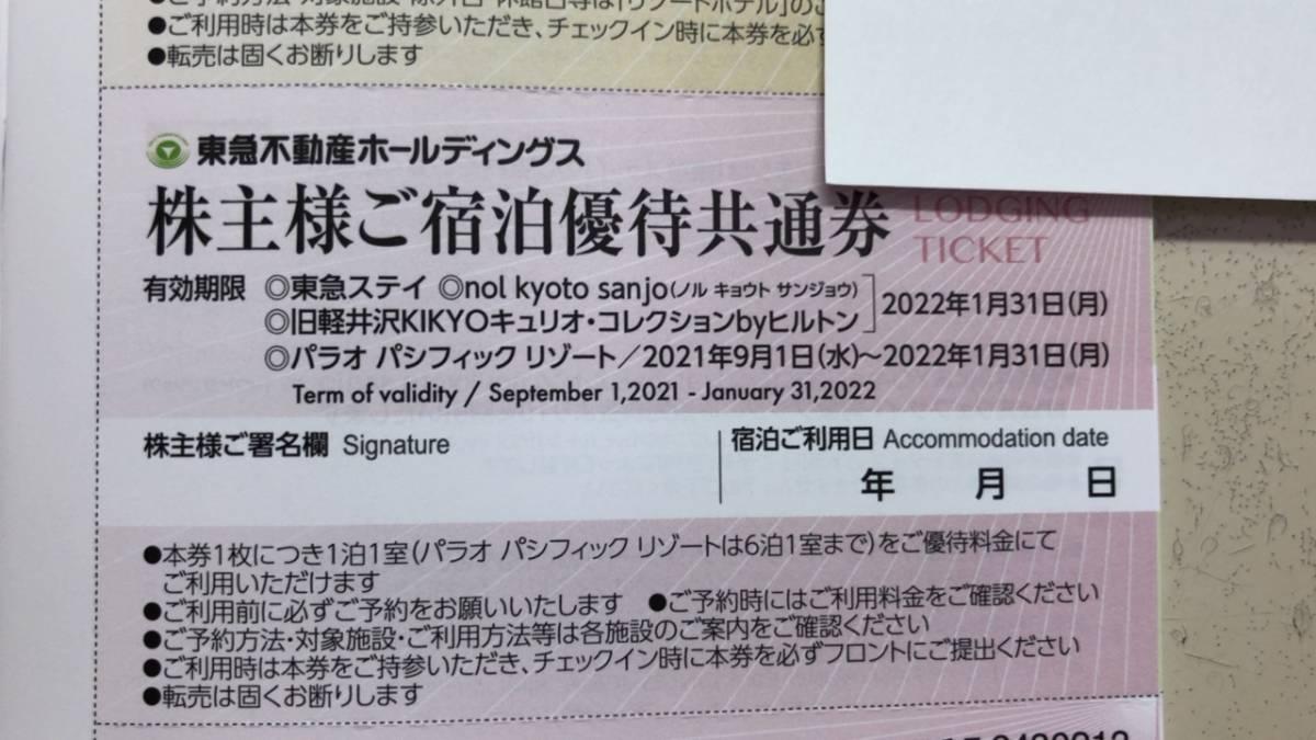 東急不動産 株主優待券 1枚  東急ステイ リゾートイン等 割引券 有効期限:2022.1.31 a_画像1