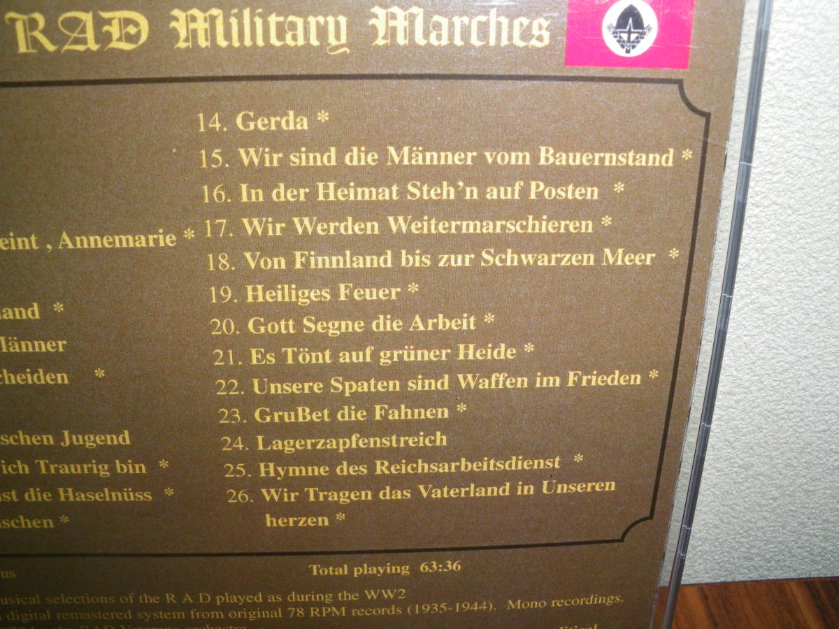ドイツ軍歌 ドイツ行進曲 ナチス軍歌CD「WW2 RAD Military Marches」 海外版 ヘルムス・ニール指揮 ナチス党歌など_画像7