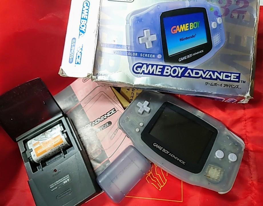 ゲームボーイアドバンス 任天堂 GBA 美品動作確認済 ミルキーブルー 充電バッテリーセット