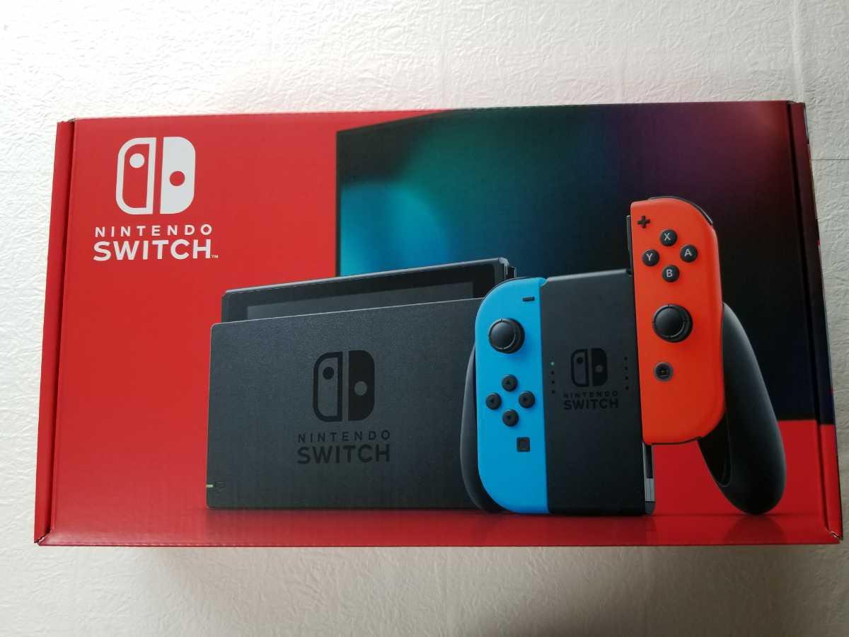 新品未開封!!任天堂 Nintendo Switch 本体 ( ニンテンドースイッチ ) Joy-Con(L) ネオンブルー/(R) ネオンレッド_画像1