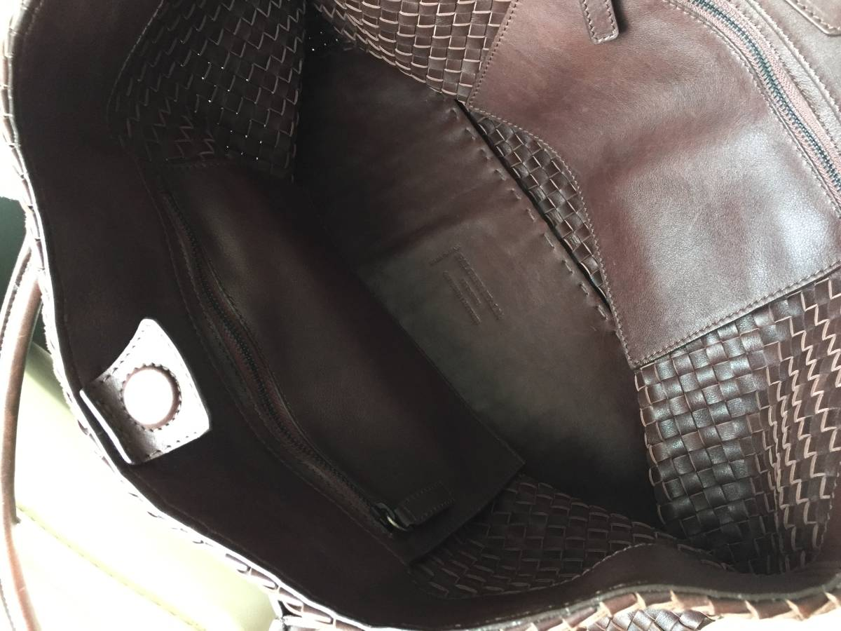 即決 FALORNI ファロルニ  最高級 イントレチャートレザー ラージサイズ メンズトートバッグ ブラック A4書類ビジネスバッグ_画像3