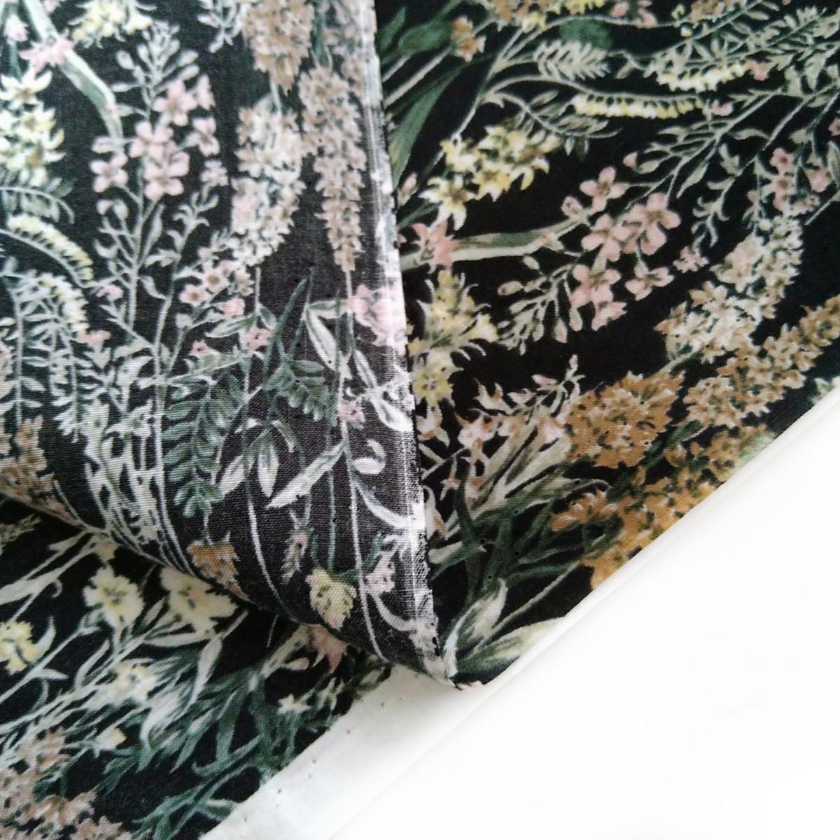 生地 綿 黒地/花柄 生地巾112 ボタニカルプリント