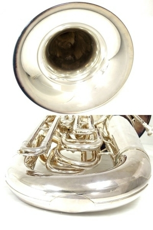 BESSON BE981 チューバ シルバー系 マウスピース 2個 管楽器 ケース付き 金管楽器 中古 直 O5667252_画像8