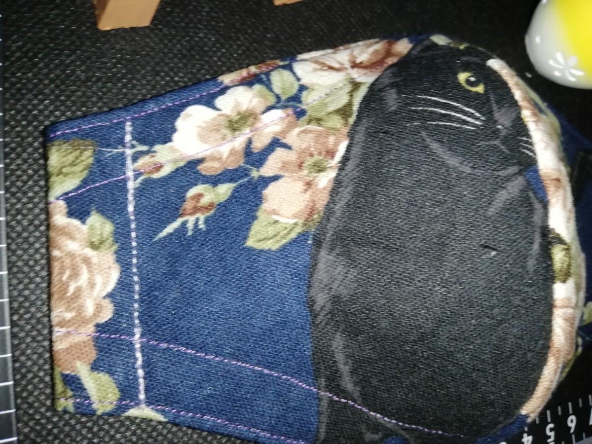ハンドメイド DIY  立体インナー インナー 黒猫と薔薇 猫柄 肉球 コスモテキスタイル  綿麻キャンバス 立体