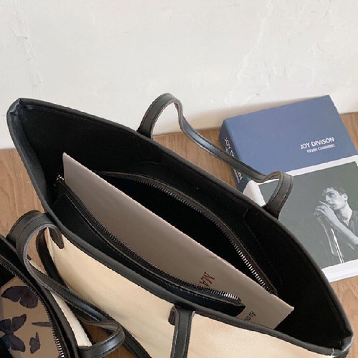 トートバッグ レディース 【白×黒】 ショルダーバッグ キャンバス 帆布 ハンドバック 肩がけ 大容量 A4ノートパソコン 収納可