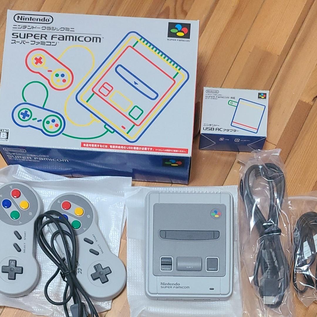 Nintendo クラシックミニスーパーファミコン+アダプター〔美品〕