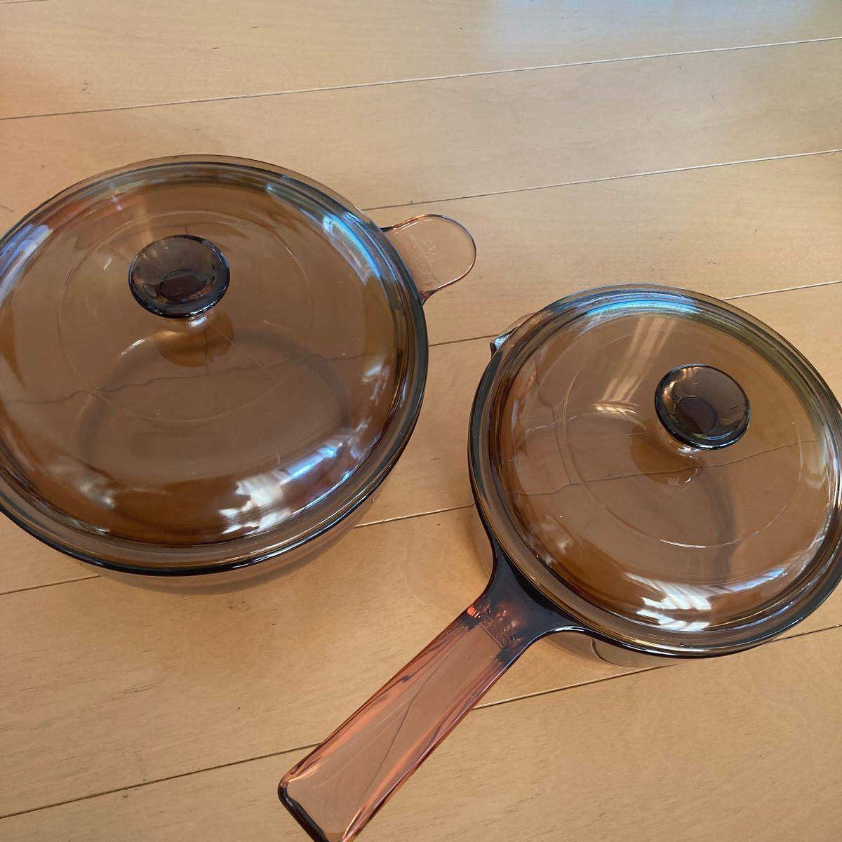 ガラス鍋 蓋付き 2個