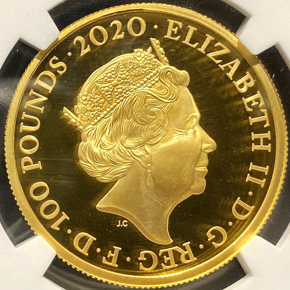 ★最高鑑定65枚のみ 2020年 イギリス ジェームズ・ボンド 100ポンド 金貨 NGC PF70UC 第3貨 1オンス プルーフ モダン コイン_画像7
