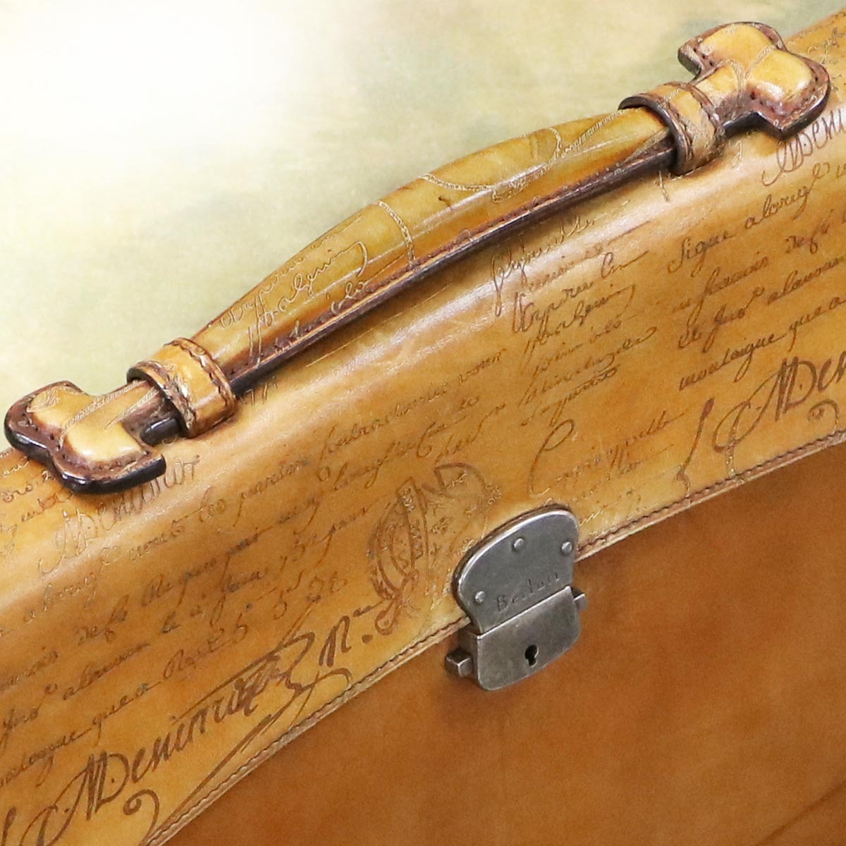 本物 美品 ベルルッティ 絶盤 オルガ期 ヴェネチアスクリットレザー Ecritoire メンズビジネスバッグ A4書類ブリーフケース カリグラフ_画像5