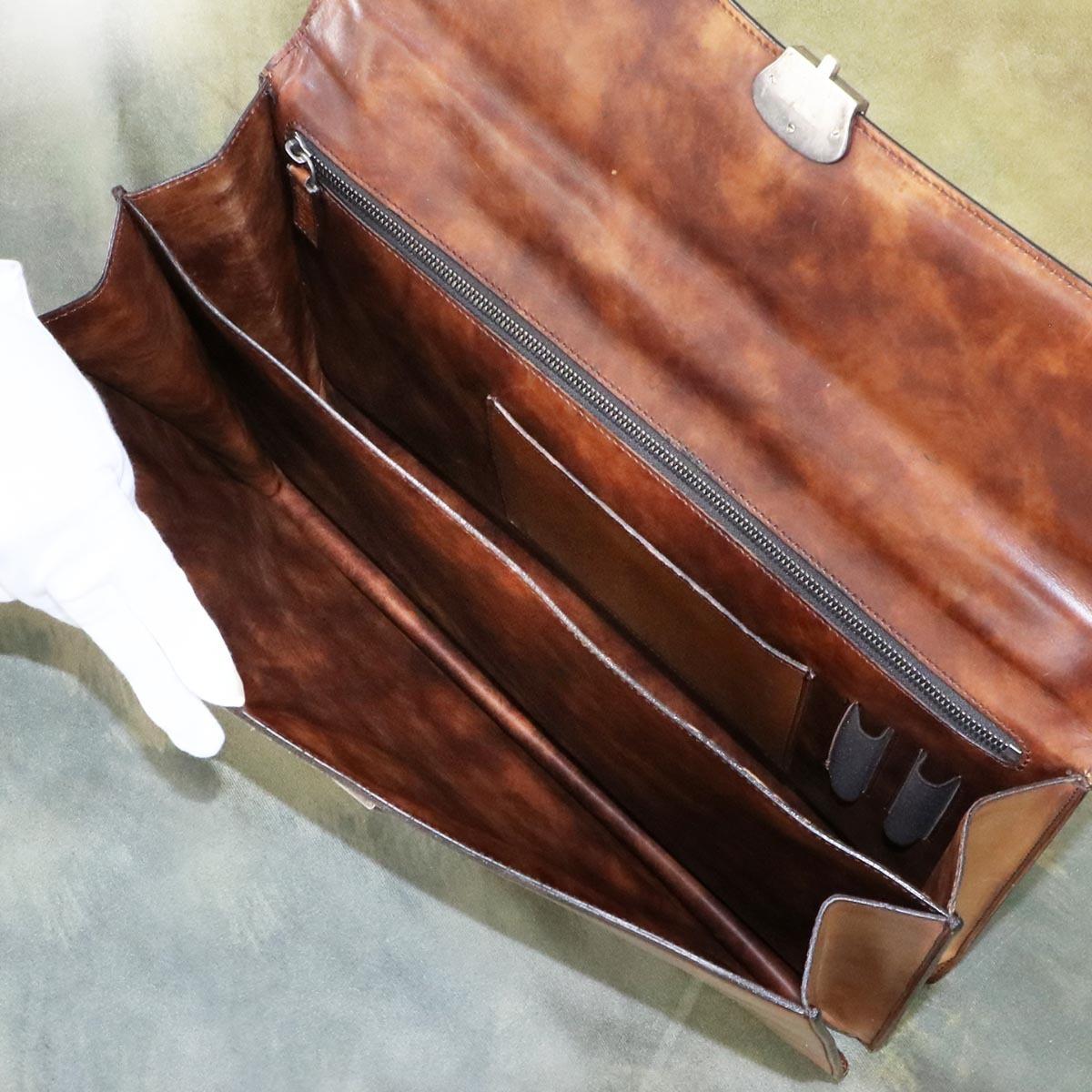 本物 美品 ベルルッティ 絶盤 オルガ期 ヴェネチアスクリットレザー Ecritoire メンズビジネスバッグ A4書類ブリーフケース カリグラフ_画像7