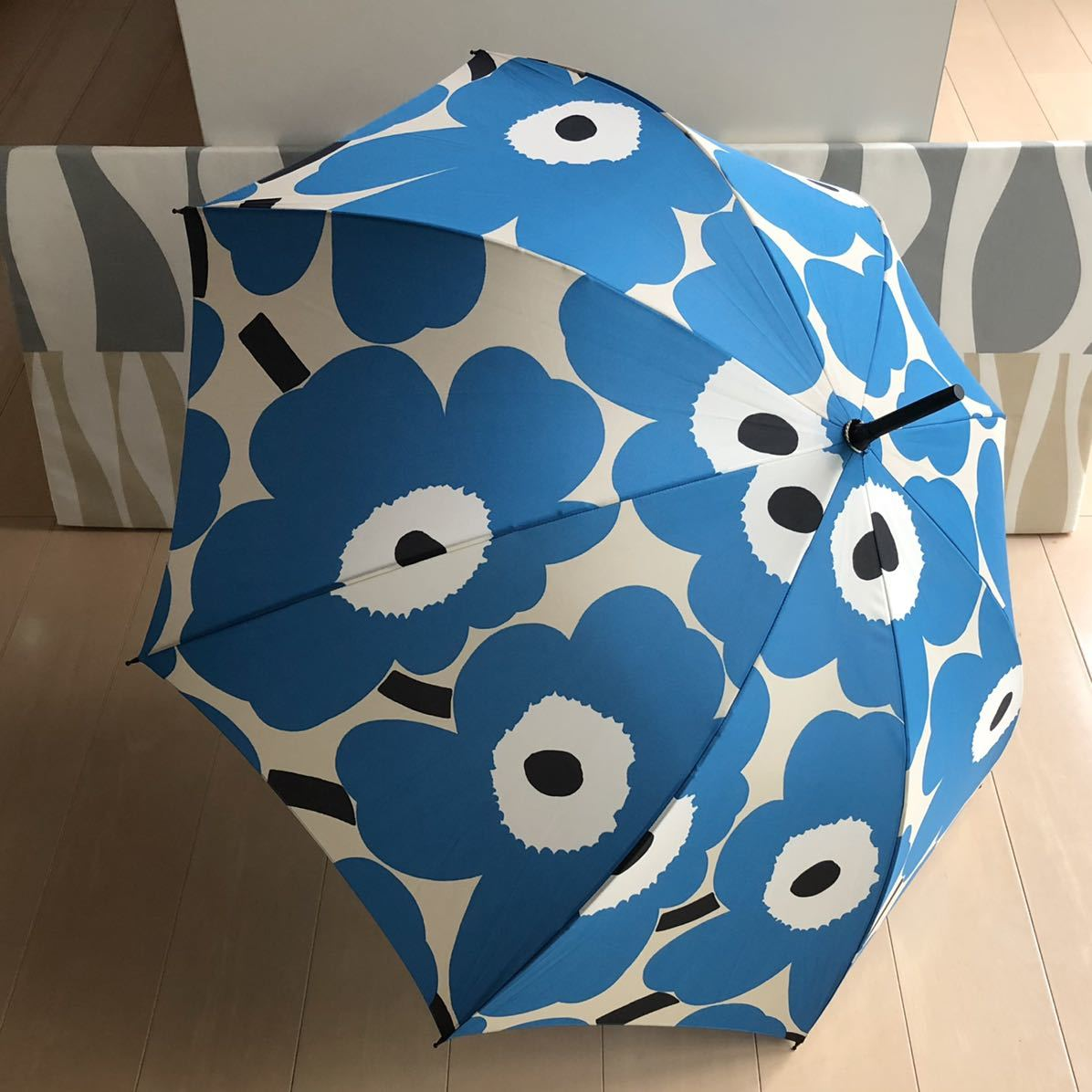 新品 marimekko Stick Pieni Unikko マリメッコ 長傘 ブルー ワンタッチ