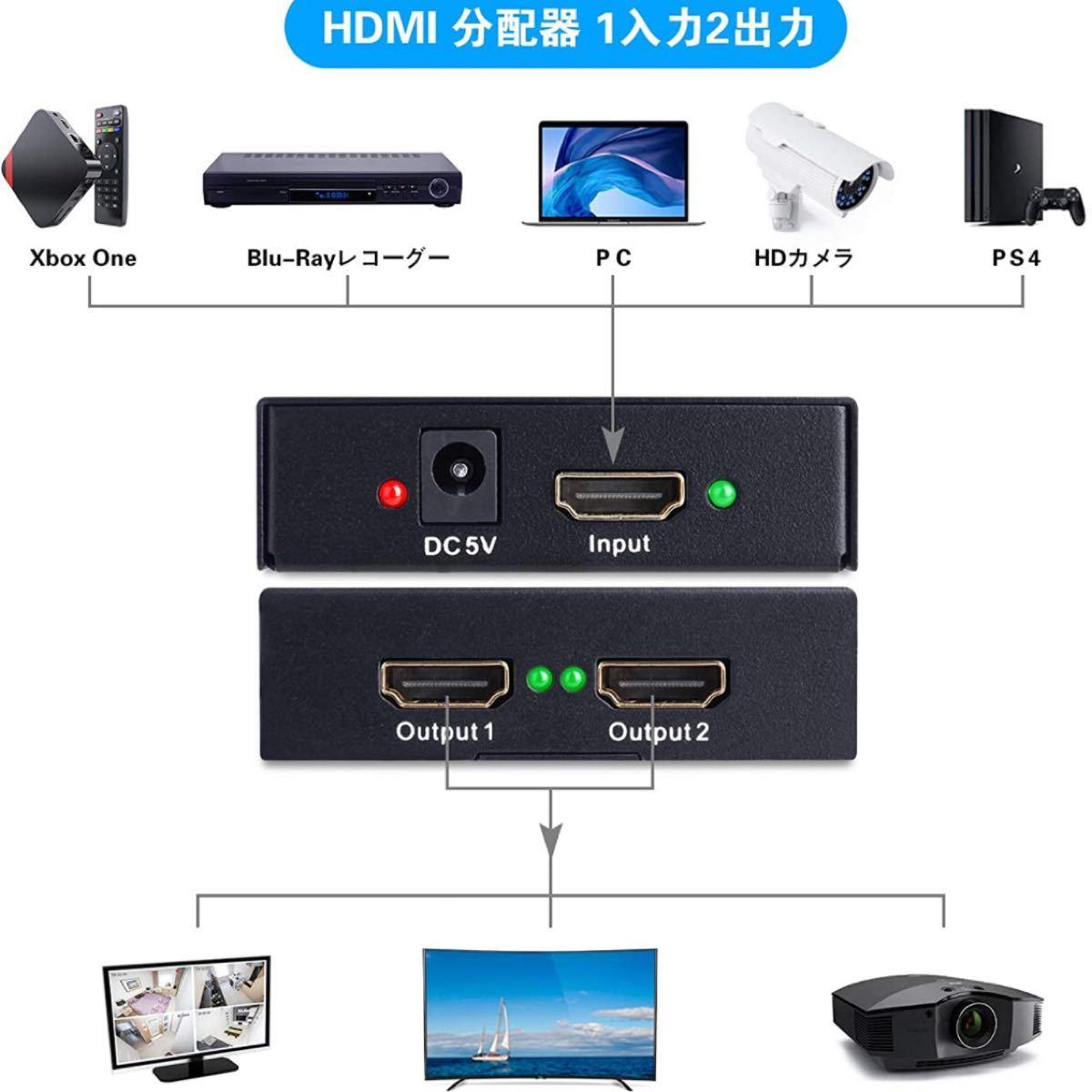 HDMI 分配器 1入力2出力 hdmi 分配器 同時出力HDMI スプリッター 4K@30Hz HDMI セレクター 同時出力