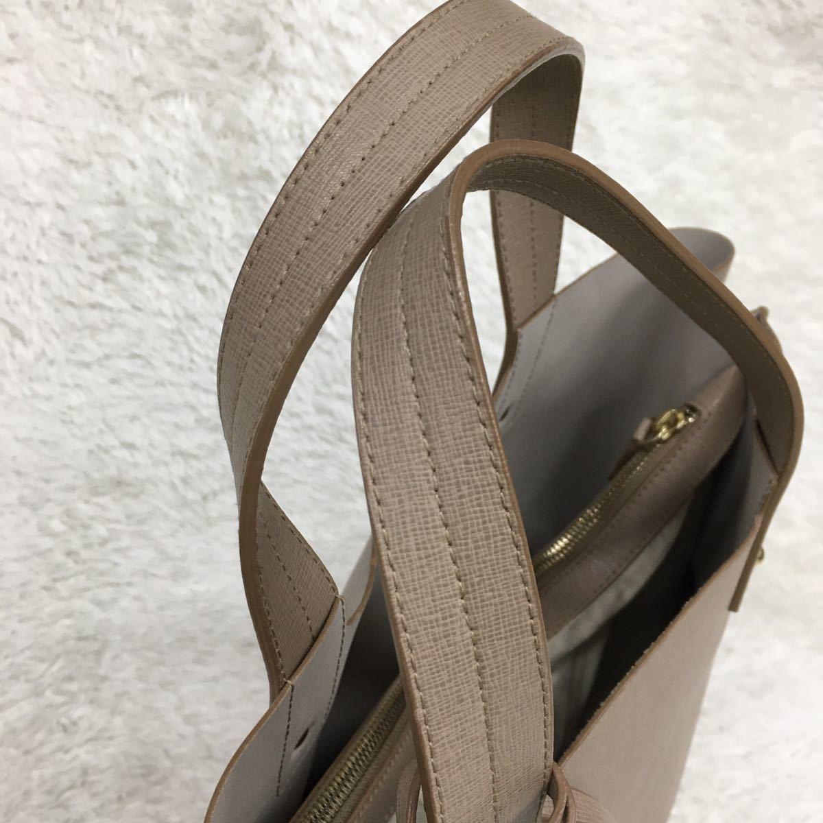 FURLA フルラ ハンドバッグ トートバッグ レザー 革 金具ゴールドカラー Fチャーム付き レディース_画像4