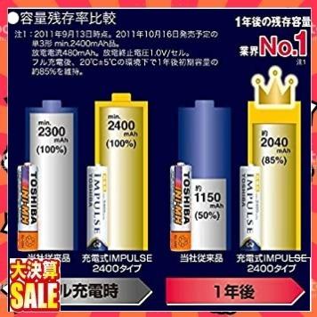 【新品 即決 早い者勝ち】TOSHIBA ニッケル水素電池 充電式IMPULSE 高容量タイプ 単3形充電池(min2400_画像4