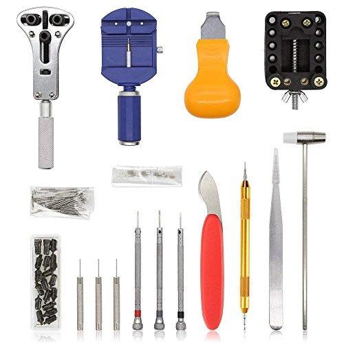 ブルー E·Durable 腕時計修理工具セット ベルト交換 バンドサイズ調整 時計修理ツール バネ外し 裏蓋開け_画像2