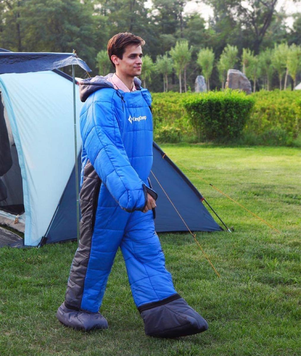 寝袋 人型寝袋 シュラフ 丸洗いOK 着る寝袋 歩ける寝袋 撥水加工「最低使用温度-8℃」アウトドア キャンプ 釣り 室内 防寒