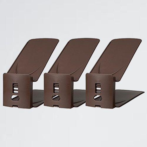 新品 好評 (like-it) ライクイット 8-PG ブラウン 日本製 靴収納 靴 ホルダ- 高さ調節機能付き 3P幅10x奥27.2x高10~18.5cm_画像1