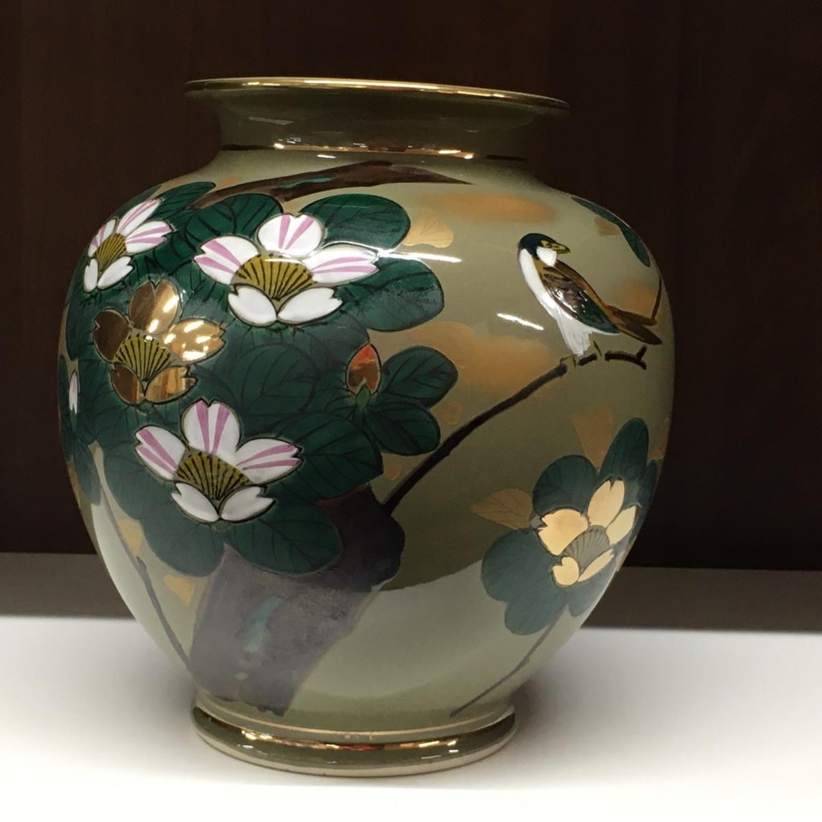 ■九谷焼 花瓶 高さ約24cm /中古品 フラワーベース 花入 インテリア ⇔■_画像3
