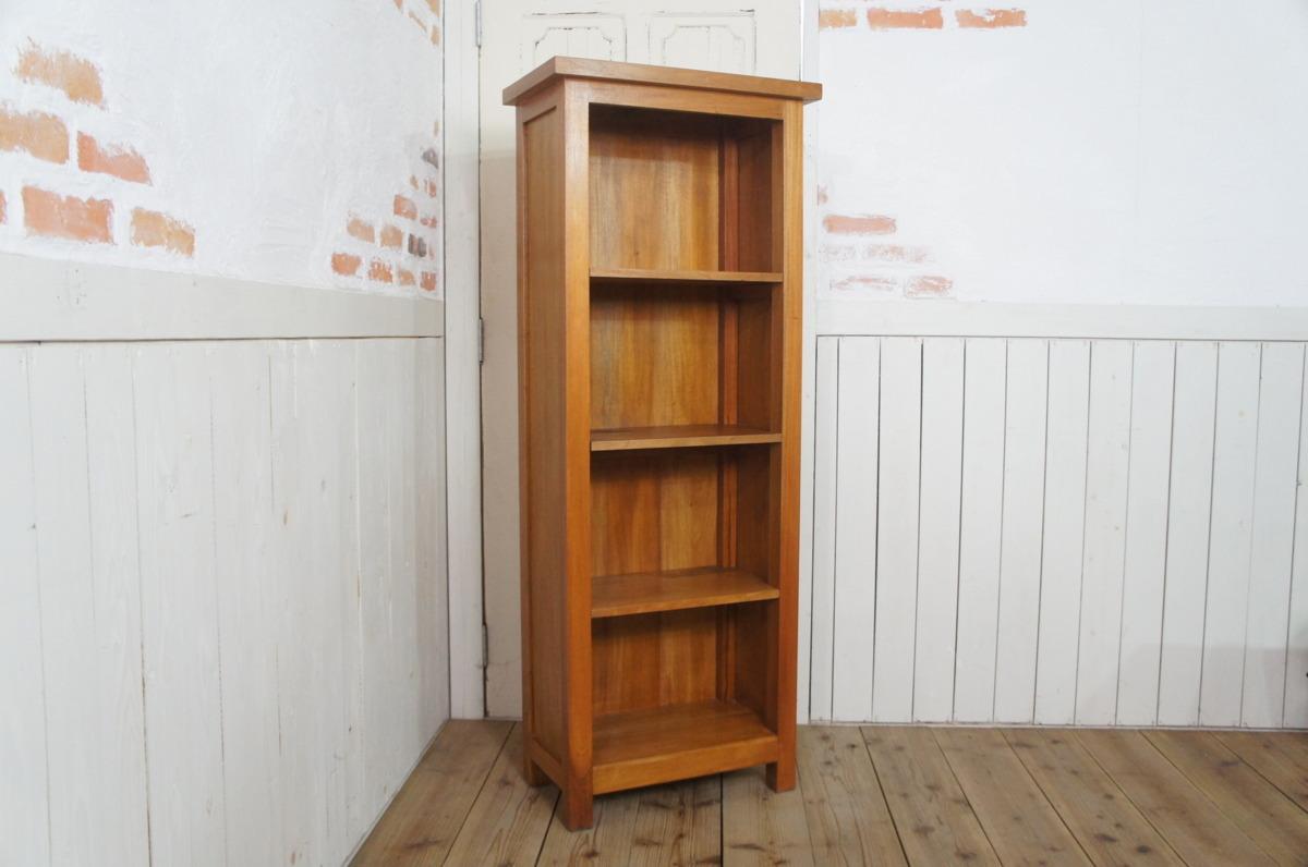 マホガニー無垢材 シェルフラック 収納棚 本棚 4段棚 ナチュラル_画像1