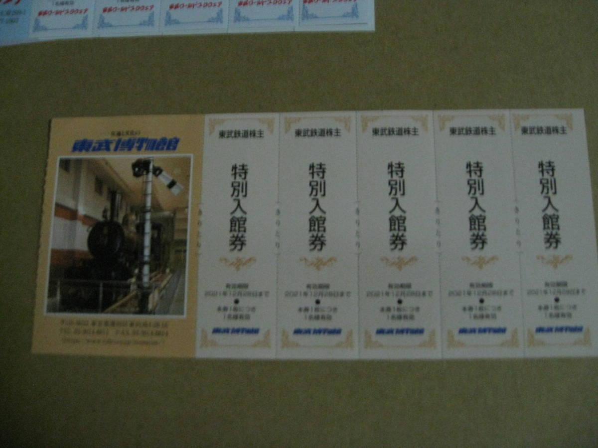 東武鉄道株主ご優待券★2021年12月31日迄 東武博物館 特別入館券 5枚_画像1