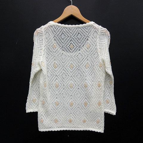 ノーベスパジオ NOVESPAZIO サマーニット トップス かぎ編み ビーズ刺繍 七分袖 オフホワイト 38 レディース_画像2