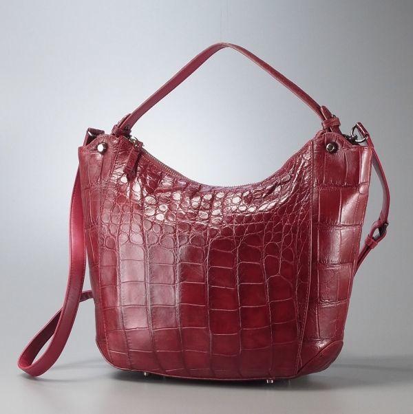 MC8129▽【最高級】クロコダイルレザー/本ワニ革/*2way ハンドバッグ/ショルダーバッグ/斜め掛け鞄*赤 レッド系