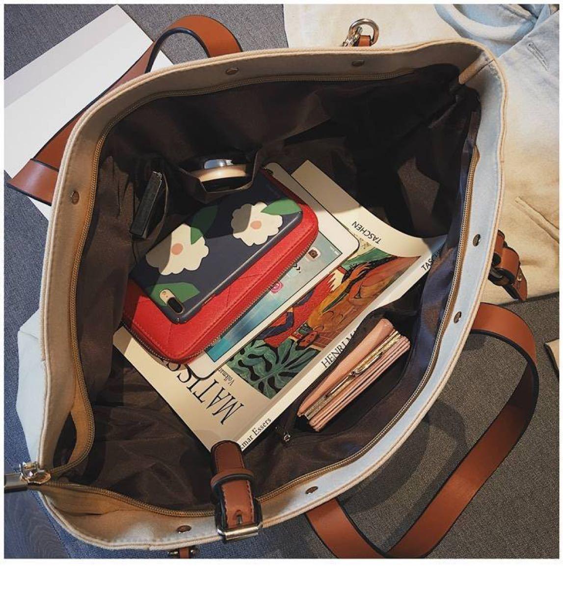 バッグ トートバッグ 2way ハンドバッグ 帆布 横長 ショルダーバッグ 人気 おしゃれ かわいい トート バッグ   ホワイト