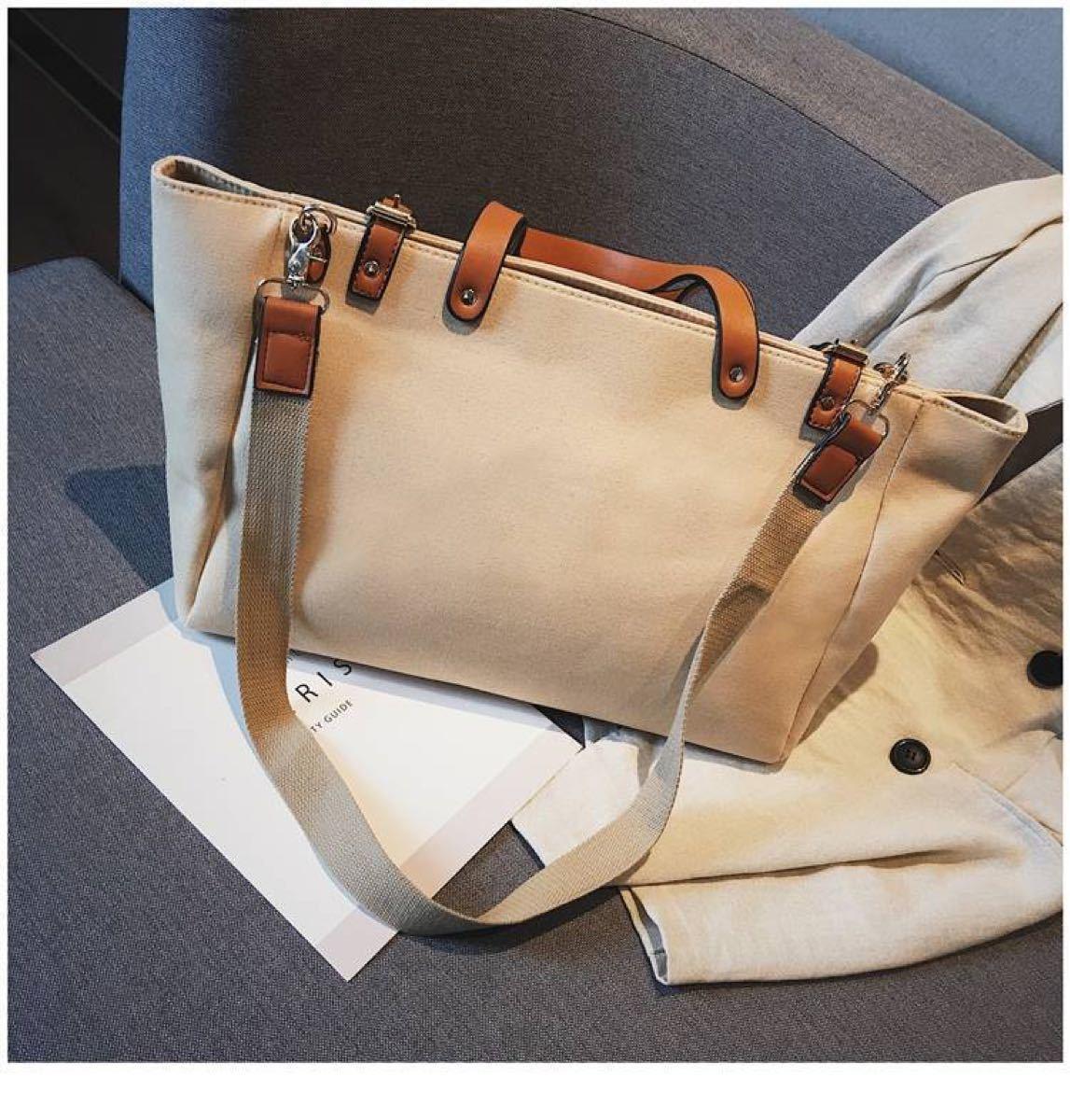 バッグ トートバッグ 2way ハンドバッグ 帆布 横長 ショルダーバッグ 人気 おしゃれ かわいい トート バッグ   ベージュ