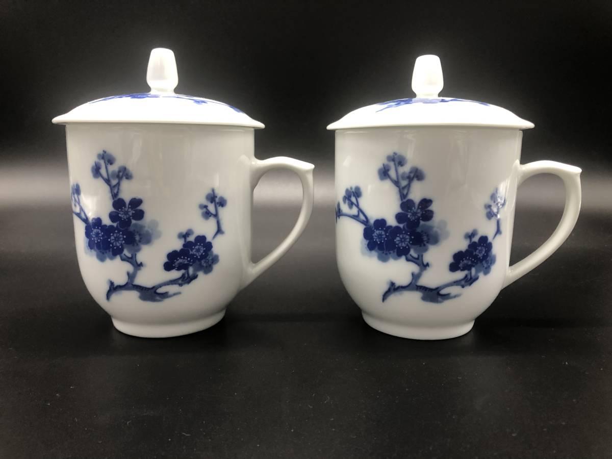 中国 景徳鎮制 白地青花色絵茶器セット 湯呑2客 中国美術 茶道具