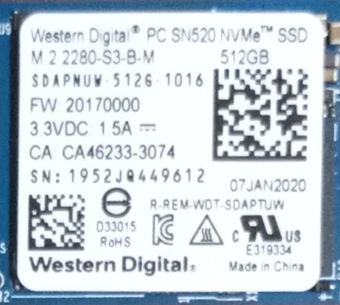 A604【動作品】M.2 NVMe 512GB SSD Western Digital SN520 【送料無料】2280 使用時間69時間