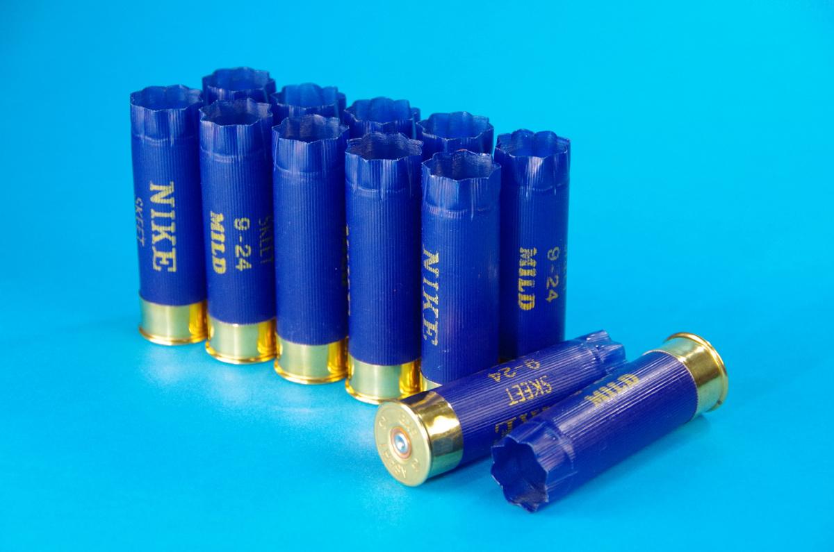 ショットシェル 空薬莢 青 12個セット ■ ショットガンの弾 ダミーカート blue ■ エアガン モデルガン アクセサリ インテリア に_画像1