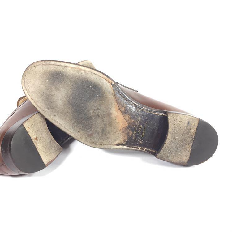 【ルイヴィトン】本物 LOUIS VUITTON 靴 26cm 茶 LV金具 ローファー スリッポン ビジネスシューズ 本革 レザー 男性用 メンズ 伊製 7 1/2_画像5