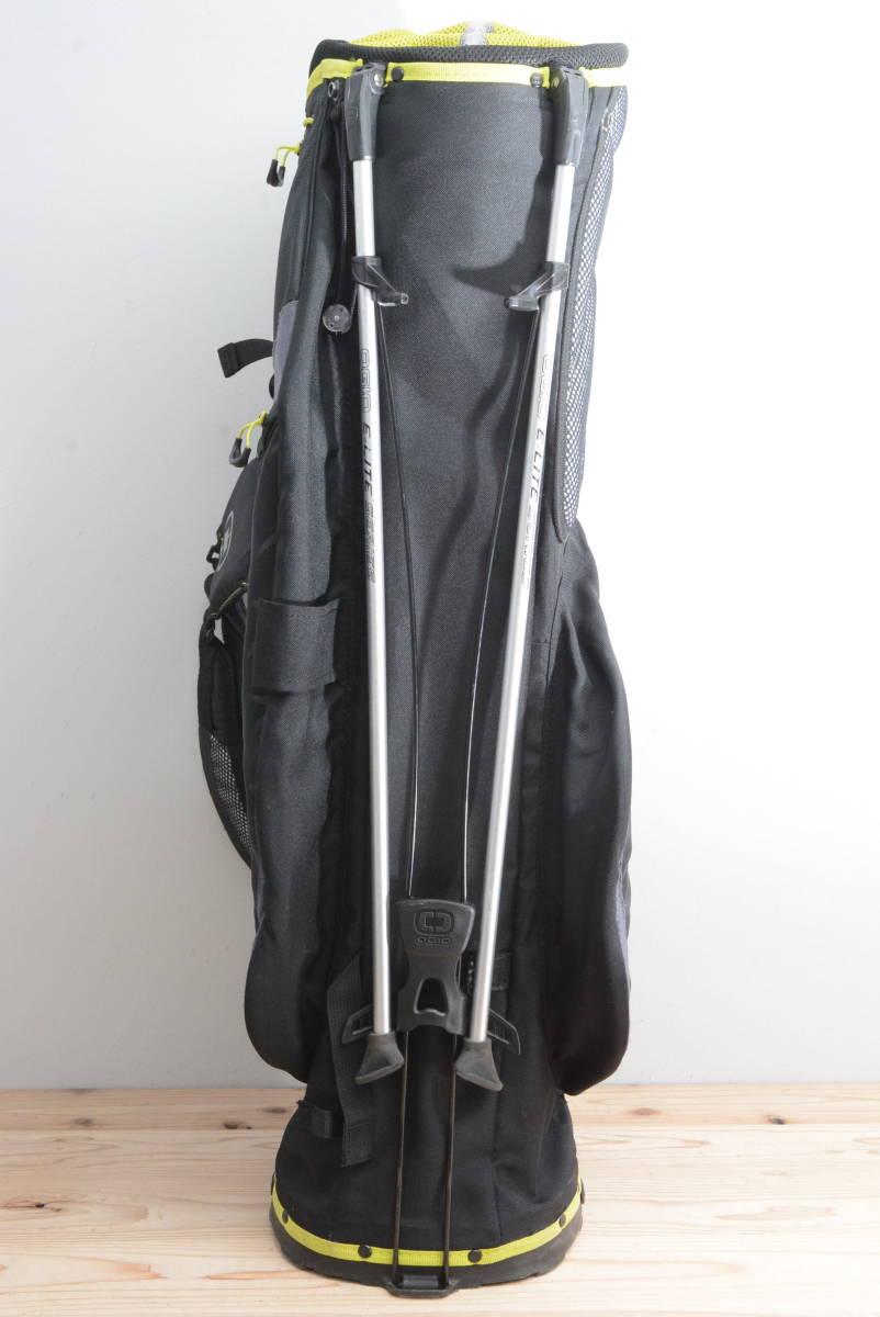 【程度良好 軽量モデル】オジオ メンズ スタンド キャディバッグ ブラック/イエロー 8.5型 46インチ対応 キャディーバック 正規品_画像4