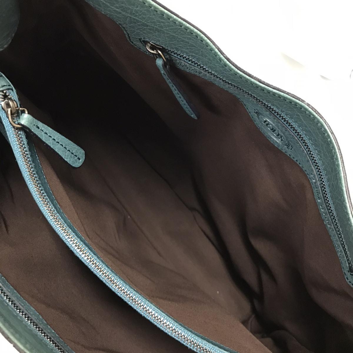 ▽▼TOD'S トッズ ショルダーバッグ トートバッグ ハンドバッグ 肩掛け レザー スエード グリーン系 青緑 通勤 レディース▼▽_画像8