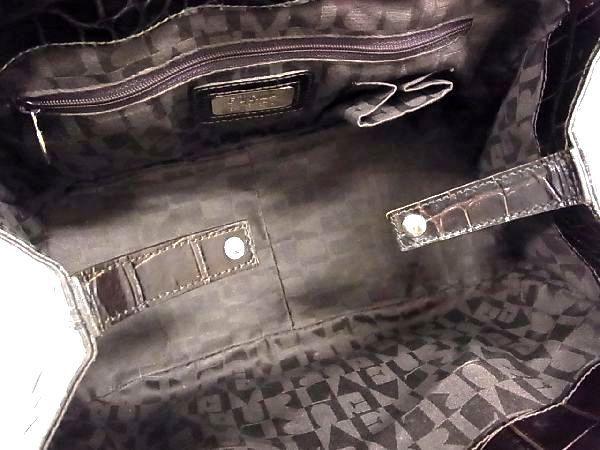 1円 ■美品■ FURLA フルラ クロコダイル型押し シルバー金具 トートバッグ ハンドバッグ 手提げかばん レディース ブラウン系 M3815KN_画像8