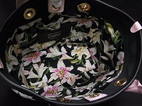 1円 ■極美品■ DOLCE&GABBANA ドルチェ&ガッバーナ CAPRI キャンバス 花柄 2WAY ハンドバッグ ショルダー 肩掛け ブラック系 N5471アM_画像8