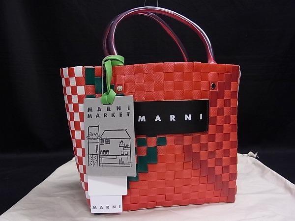 1円 ■極美品■ MARNI マルニ ウーブン ポリプロピレン×レザー 編み込み ハンドバッグ トートバッグ 手持ちかばん レッド系 N6545Mオ
