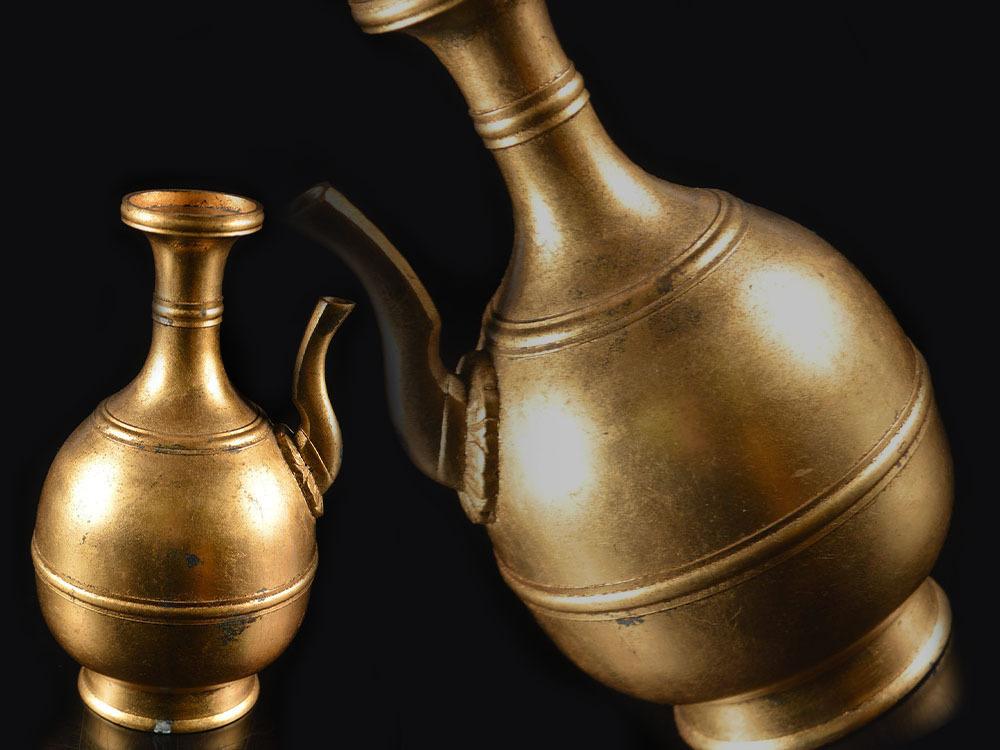 【雲】仏教美術 時代 古銅鍍金浄瓶 水注 水瓶 高さ21cm 古美術品 (旧家蔵出) C7277 CTJB113l