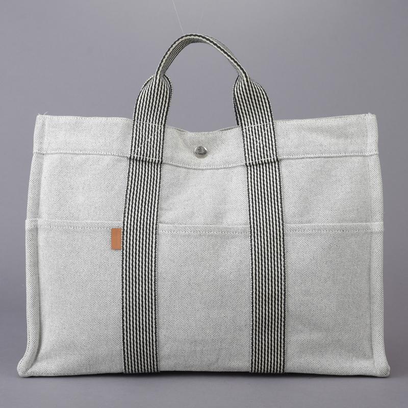 1円 美品 HERMES エルメス ニューフールトゥMM トートバッグ ハンドバッグ クリーニング済み グレー キャンバス ビジネス A4 鞄 Mk.d