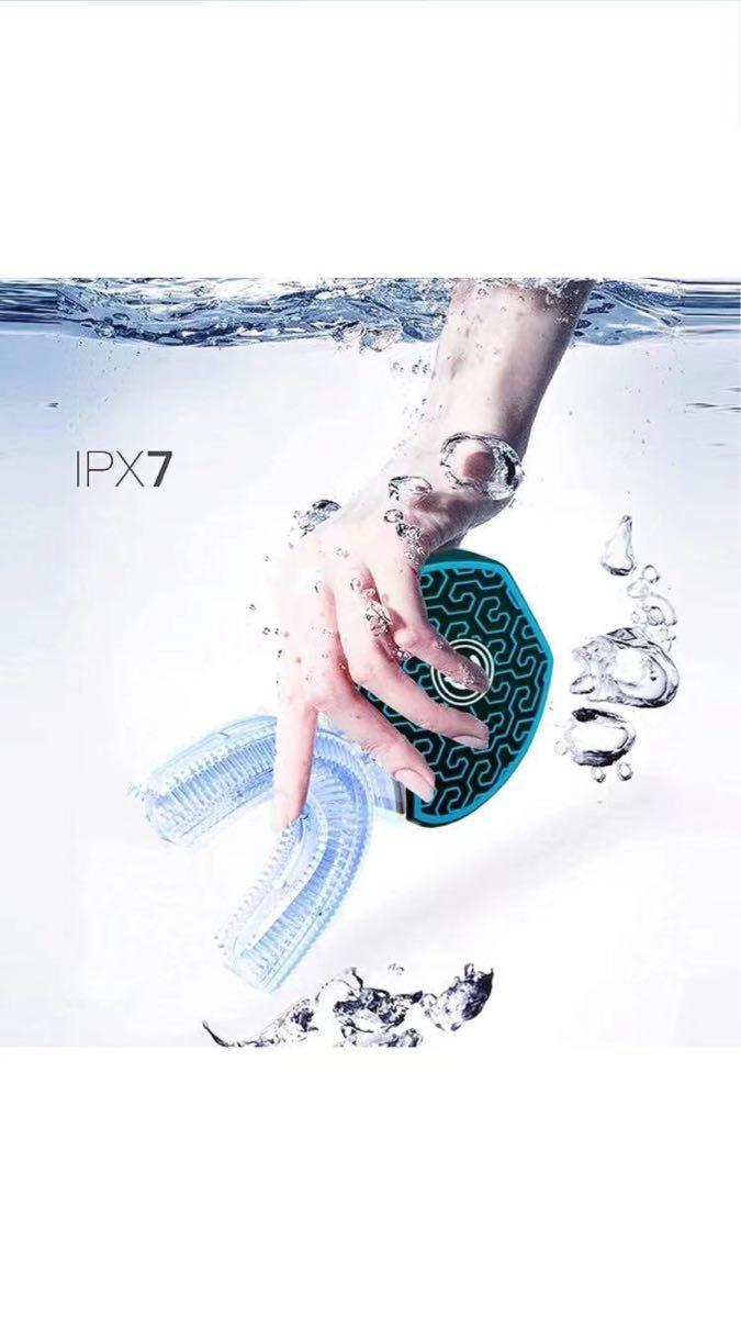 GideaTech 電動歯ブラシ 音波振動歯 ブラシ IPX7防水 四代目 ワイヤレス充電 360°U型 (Black)