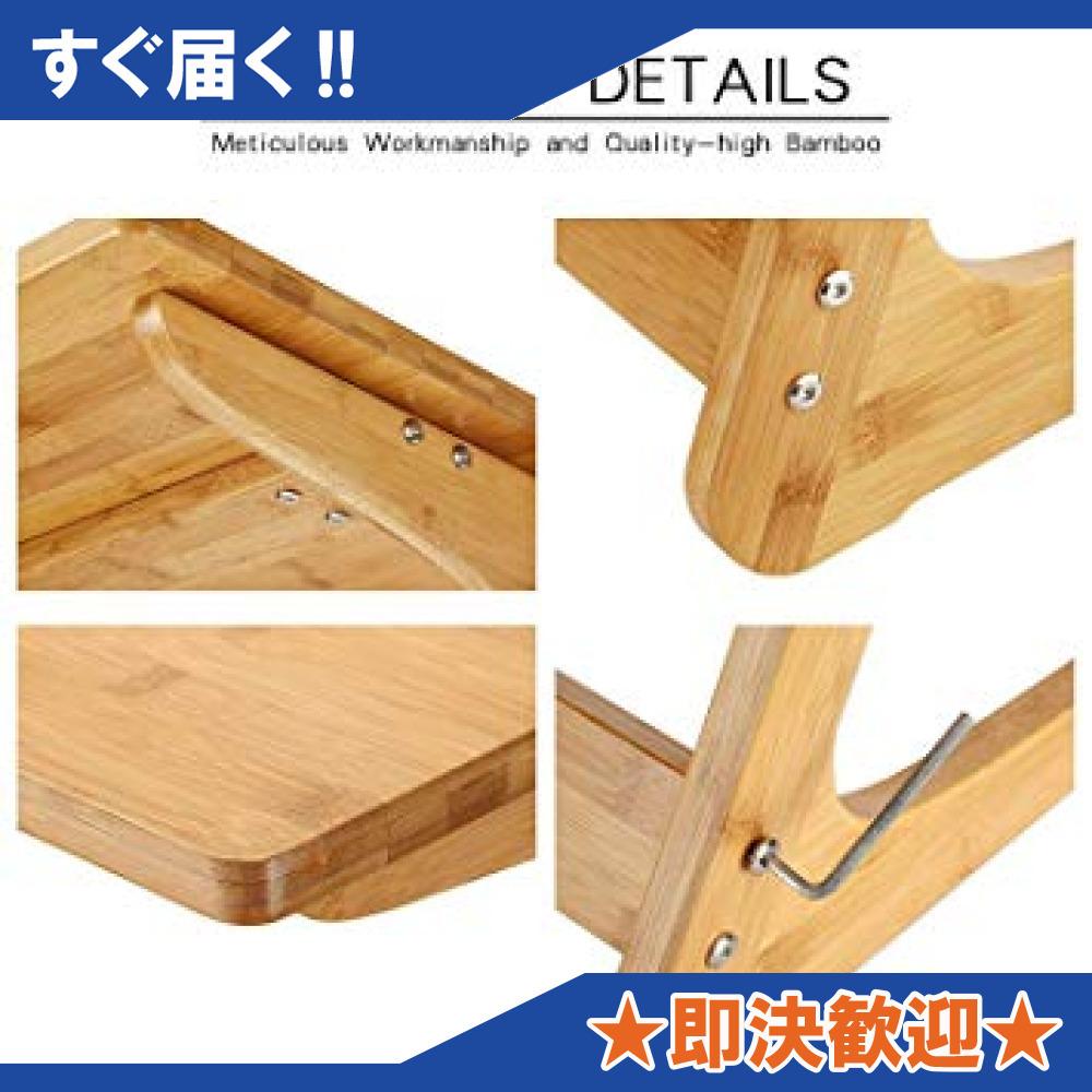 原木色-45×35×60cm リビング ソファ サイドテーブル ノートパソコンテーブル 竹製 ベッドサイドテーブル Z字型が使い_画像6
