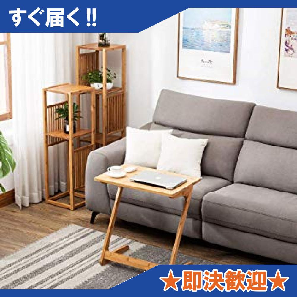 原木色-45×35×60cm リビング ソファ サイドテーブル ノートパソコンテーブル 竹製 ベッドサイドテーブル Z字型が使い_画像5
