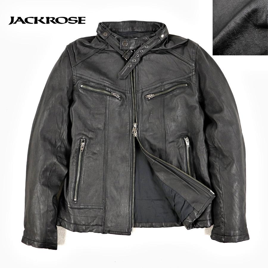 相場価格¥42,000- 美品 JACKROSE ジャックローズ 羊革 シープスキン シングルライダースジャケット レザージャケット ブラック 黒 3 JP:M