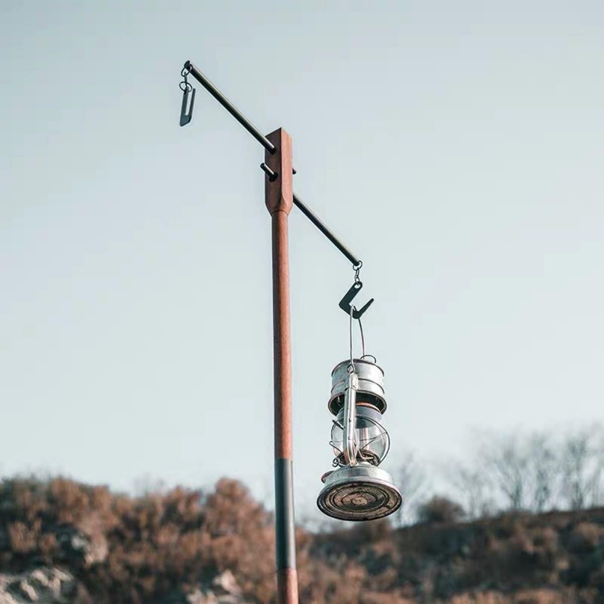 ウッド ランタンポール 木製 ランタンハンガー 収納ケース付き