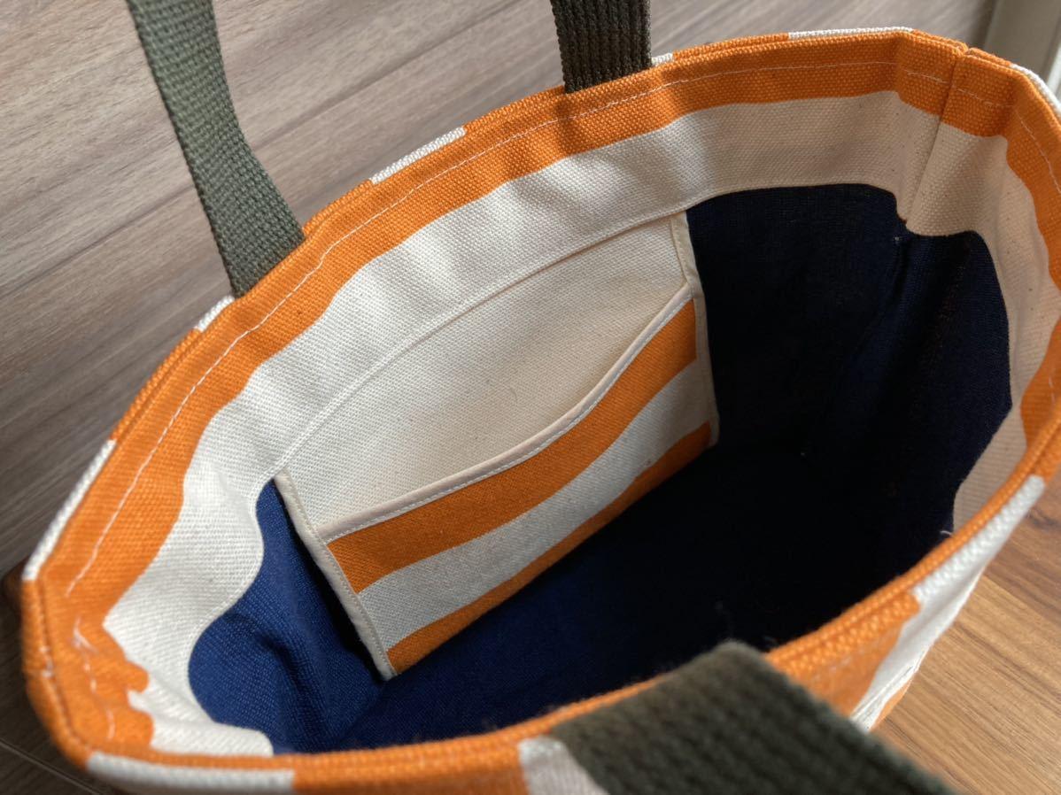 ハンドメイド☆ ミニトートバッグ ポーチ 2点セット 帆布 キャンバス ストライプ
