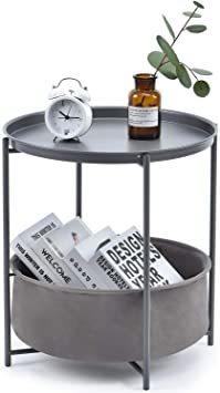 暗灰色 ビッグ キングラック サイドテーブル トレイテーブル リビング ソファ テーブル ナイトテーブル ベッド横 ソファー用_画像1