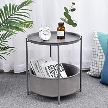 暗灰色 ビッグ キングラック サイドテーブル トレイテーブル リビング ソファ テーブル ナイトテーブル ベッド横 ソファー用_画像2