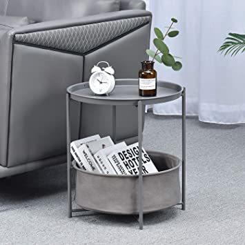 暗灰色 ビッグ キングラック サイドテーブル トレイテーブル リビング ソファ テーブル ナイトテーブル ベッド横 ソファー用_画像3