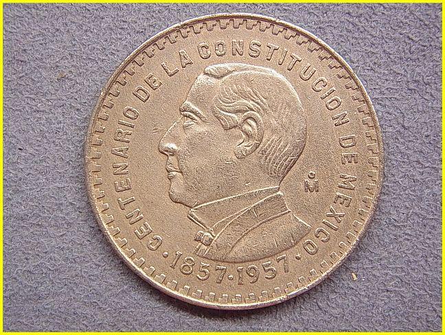 【メキシコ 1ペソ 銀貨/1957年】 UN PESO/旧硬貨/コイン/古銭/低品位銀貨